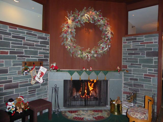 The fireplace at the Birch Ridge Inn