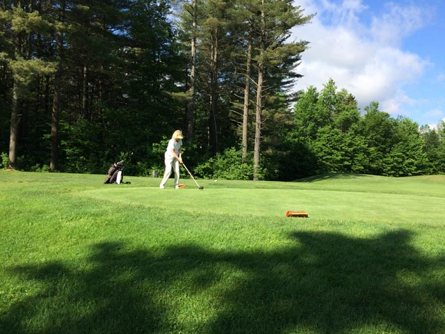 Mary driving the ball on the 6th tee at Green Mountain National