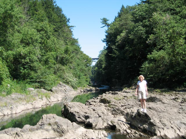 Hiking in Quechee Gorge on a beautiful summer day.